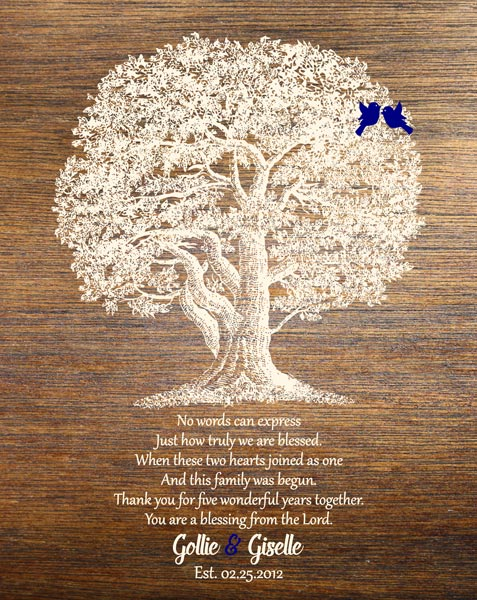 Five Year Wedding Anniversary Family Tree 5 Years Faux Wood Gift – Personalized For Giselle