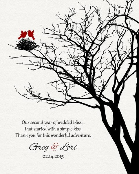 Second Year Anniversary Family Wedding Tree Garnet Poetry Gift – Personalized For Greg