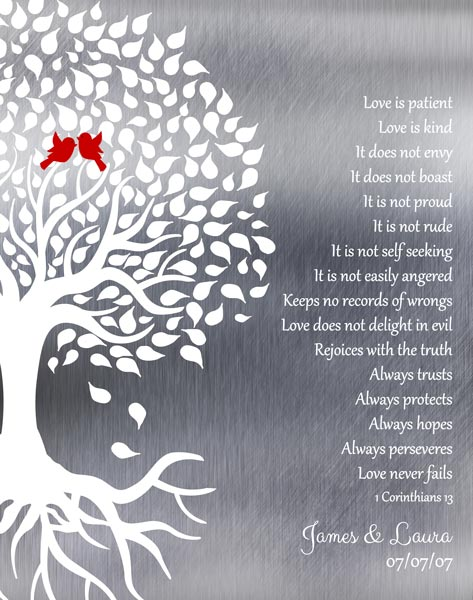You are currently viewing Tin Ten 10 Year Anniversary Wedding Tree Roots Love Birds Love Is Patient Gift Personalized For James