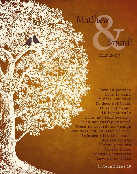 Family Tree Anniversary Plaque 1 Corinthians 13 Carved Initials Love Is Patient Oak Tree Orange Background Gift – Personalized For Janet