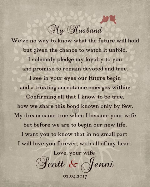 Husband Wedding Day Gift Love Poem – Personalized for Jennifer