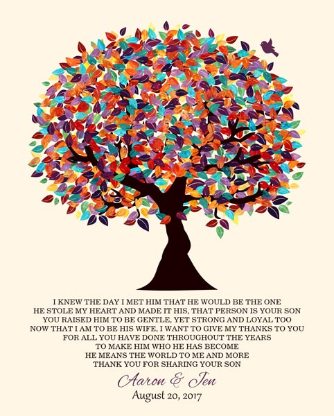 Mother Of The Groom Parents Of Groom Colorful Fruit Wedding Poem Tree Gift Personalized For Jennifer