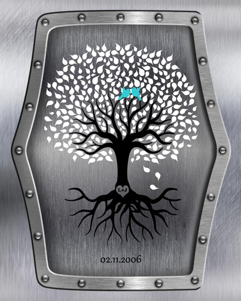 Eleventh Anniversary Wedding Tree Faux Steel Turquoise Gift – Personalized For Jeremy