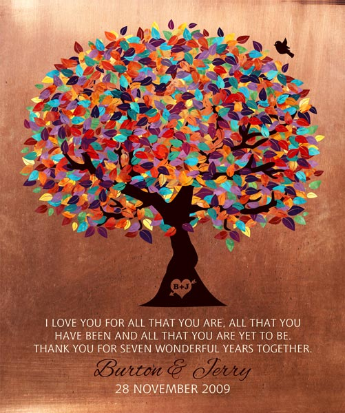 Seven Year Anniversary Colorful Wedding Tree Poetic Sentiment – Personalized for Jerry