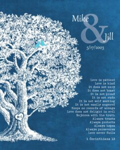 Read more about the article Anniversary Family Tree Plaque 1 Corinthians 13 Love Is Patient – Personalized for Jill
