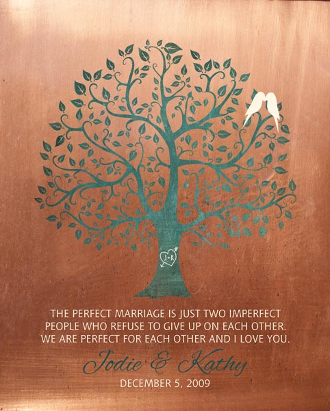 You are currently viewing Gift for Wife 7 Year Anniversary Faux Copper Wedding Tree Art Print Perfect Marriage – Personalized for Jodie