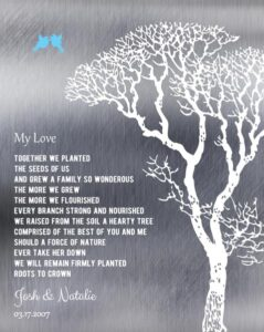 Tin Ten 10 Year Wedding Anniversary Shiny Bare Trees Winter Marriage Gift – Personalized For Joshua