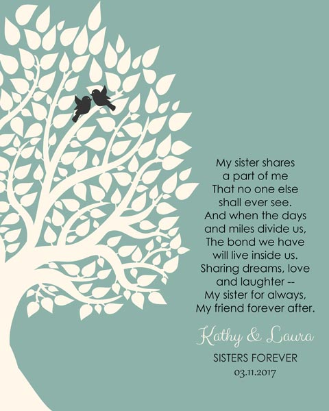 Sisters Forever Gift My Sister My Friend Always – Personalized for Katherine