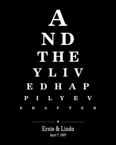Couple Design Eye Chart And They Lived Happily Ever After  Gift – Personalized For Linda