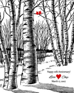 Winter Wedding  Marriage Tenth Anniversary Bare Birch Trees Red Love Birds  Gift – Personalized For Lisa