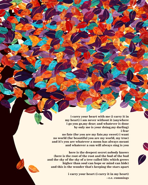 You are currently viewing E.E. Cummings Poem Spring Wedding Tree Poetry Gift For Couple – Personalized For Colleen