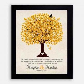Mother of Groom Personalized Thank You Gift For Parents of Groom Family Wedding Poem Tree Gift For Mom and Dad #LT-1102