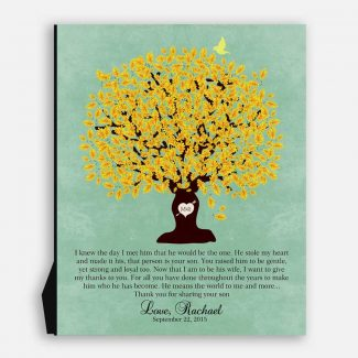 Thank You Gift For Parents Personalized Gift For Mother of Groom or Bride Family Wedding Poem Tree Gift For Mom and Dad #LT-1104