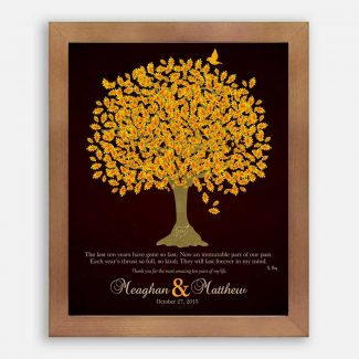 Ten Year Personalized Anniversary Gift For Couple Gift For Husband or Wife Family Wedding Poem Tree 1st 2nd Gift For Mom and Dad #LT-1108