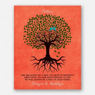 Gift For Sister Family Tree Roots Remain As One Personalized Gift For Sister From Sisteror Sister-In-Law #LT-1112
