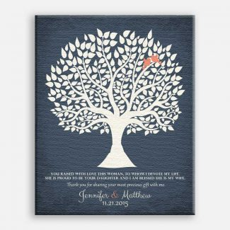 Personalized Gift For Mother of Bride You Raised With Love This Woman Wedding Poem Tree Gift For Mom and Dad #LT-1117