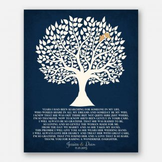 Personalized Thank You Gift For Parents Mother of Bride Years I Had Been Searching Family Wedding Poem Tree Gift For Mom and Dad #LT-1119