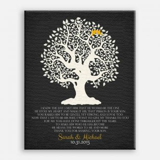 Personalized Thank You Gift For Mother of Groom I Knew The Day I Met Him Parents of Groom Gift Family Wedding Poem Tree #LT-1124