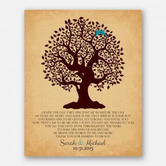 Personalized Thank You Gift For Mother of Groom I Knew The Day I Met Him Parents of Groom Gift Family Wedding Poem Tree #LT-1126