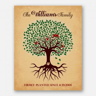 Custom Family Tree Roots Firmly Planted Gift For Couple Anniversary Housewarming Grandparents Personalized #LT-1128