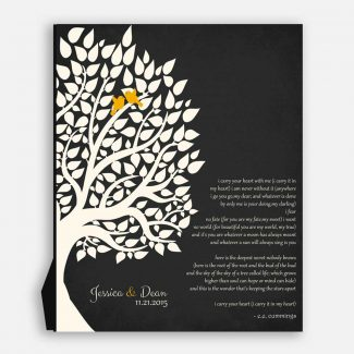 E.E. Cummings Personalized Gift For Anniversary 1st Paper Gift For Couple Family Wedding Poem Tree First 2nd 10th Gift For Mom and Dad #LT-1133
