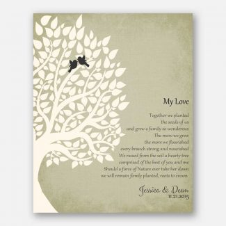 Personalized Gift For Anniversary My Love Poem Our Tree 1st Paper Gift For Couple Family Wedding Poem #LT-1134