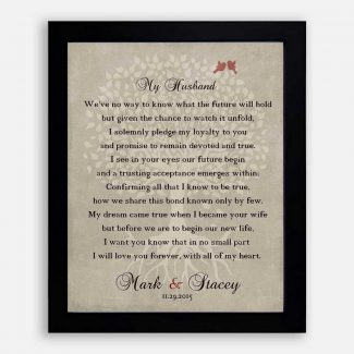 Thank You Gift For Husband at Wedding Love Poem Personalized Gift For Groom From Bride Wife Family Wedding Poem Tree #LT-1137