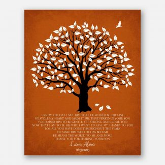 Thank You Gift For Mother of Groom I Knew The Day I Met Him Parents of Groom Gift Family Wedding Poem Magnolia Tree #LT-1147