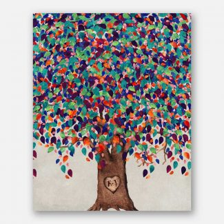 Watercolor Tree With Heart And Initials