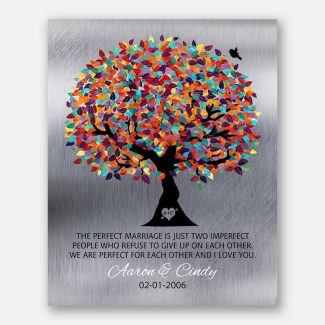 10 Year Anniversary The Perfect Marriage Colorful Wedding Tree Anniversary Gift For Couple #1208