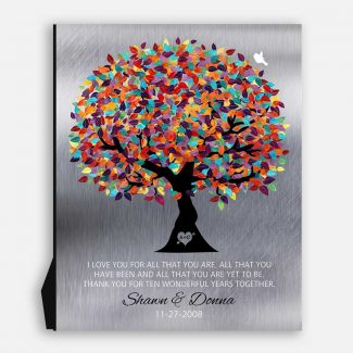 I Love You For All That You Are 10 Year Anniversary Tin Background Colorful Wedding Tree Anniversary Gift #1211