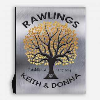Tree In Round Wedding Tree Gift For Couple Golden Leaves Background DesignAnniversary Present Housewarming Gift #1214