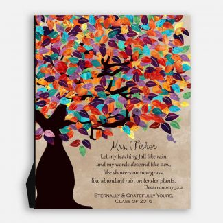 Deuteronomy 32:2 Personalized Watercolor Tree Gift