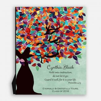 Proverbs 4:13 Personalized Watercolor Tree Gift