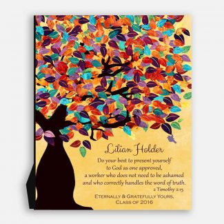Timothy 2:15 Personalized Watercolor Tree Gift