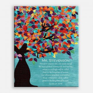 Matthew 5:19 Personalized Watercolor Tree Gift