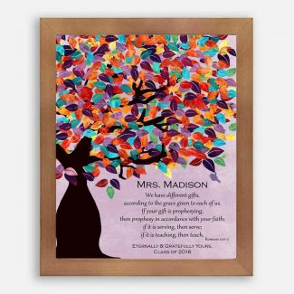 Romans 12:6-7 Personalized Watercolor Tree Gift