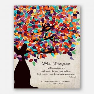 Psalm 32:8 Personalized Watercolor Tree Gift