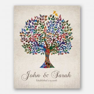 Personalized Watercolor Tree Vintage Background Wedding