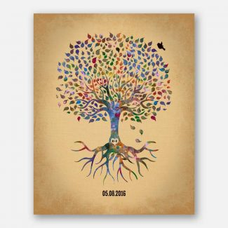 Minimalist Tree With Roots Anniversary Date