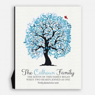 I Love You For All That You Are Blue And White Wedding Tree Personalized #1264