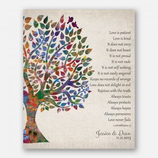 Love Is Patient 1 Corinthians 13 Vintage Watercolor Personalized Tin 10 Year Anniversary Gift Wedding Tree #1274