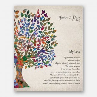 My Love Poem Wedding Tree Together We Planted Vintage Background Personalized Tin 10 Year Anniversary Gift #1275
