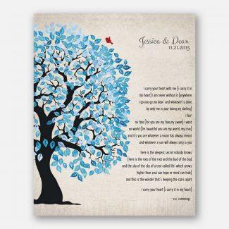 Blue And White Wedding Tree Shibori E.E. Cummings I Carry Your Heart Personalized Tin 10 Year Anniversary Gift #1278
