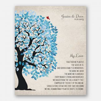 Family Tree Blue And White My