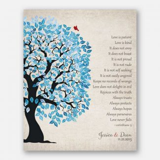 1 Corinthians 13 Blue And White Wedding Tree Love Is Patient Vintage Personalized Tin 10 Year Anniversary Gift #1280