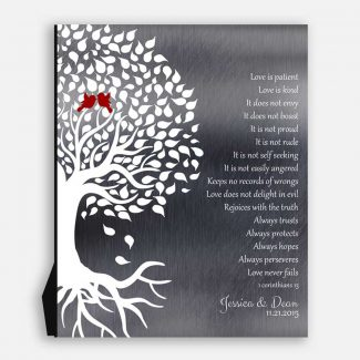 1 Corinthians Wedding Tree Roots Lovebirds Love Is Patient Shiny Tin Personalized Ten 10 Year Anniversary Gift #1281