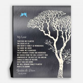 My Love Poem Personalized Tin 10 Year Wedding Anniversary Gift Shiny Tin Bare Trees Winter #1298
