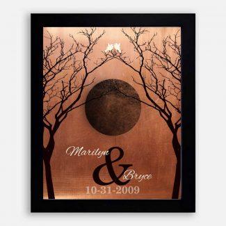 Bare Trees Moon Winter Wedding Faux