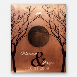 Bare Trees Moon Winter Wedding Faux